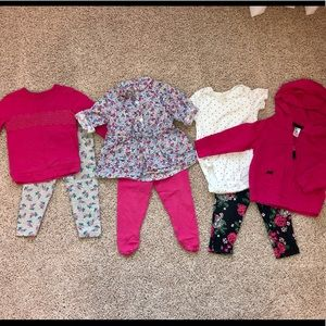 Carters 12 month baby girl pink clothes bundle